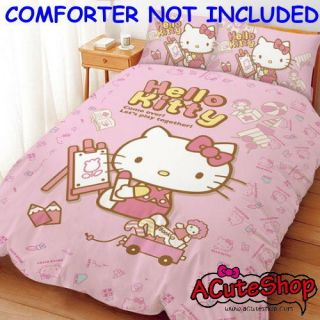 Hello Kitty Painting Bedsheet Single Bed Set Pink Sanrio