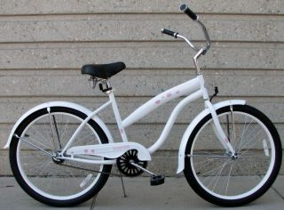 24 GIRLS BEACH CRUISER BIKE SINGLE SPEED HAWAII FLOWERS WHITE NEW