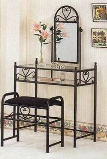 Newly listed Coaster 2432 Black Metal Vanity Heart Design Make Up