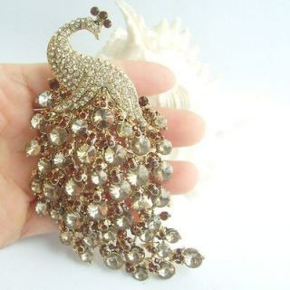 33 Bird Peacock Brooch pin w Topaz Rhinestone crystals EE05651C7