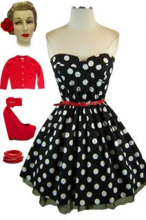 50s Style BLACK & White POLKA DOT Strapless BUSTIER PINUP Party Dress