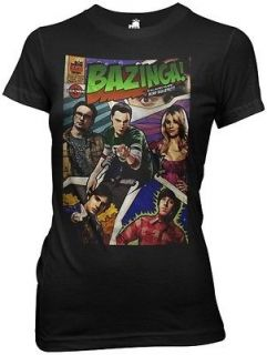 Big Bang Theory Bazinga Comic Book Cover TV Womens Fitted Medium T