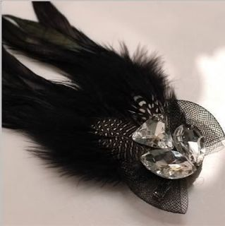 gift peacock feather hair clip brooch corsage head piece NEW