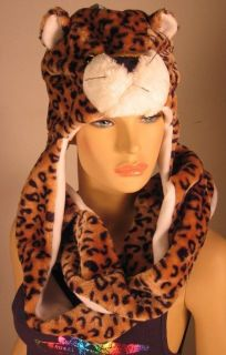Plush Animal Hats with Attached Paw Mittens   Different Animals
