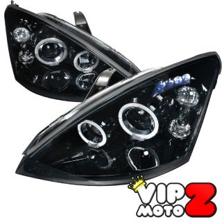 ) 00 04 Ford Focus Titanium Black Halo LED Projector Headlight Lamp