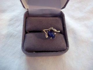 Blue Star Sapphire 14kt white Gold Ring