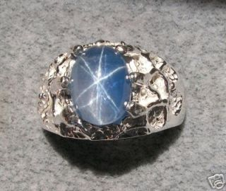 MENS LINDE LINDY TRANS BLUE STAR SAPPHIRE CREATED RING