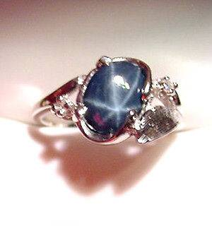 GENUINE BLUE STAR SAPPHIRE 1.81 CTS & DIAMONDS 14K WHITE GOLD RING