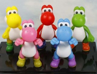 super mario bros yoshi red yellow blue pink green 5 figure toy lot 5