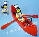 Lego minifig INDIAN GIRL w Canoe, Paddles, Quiver & Bow MiniFigure