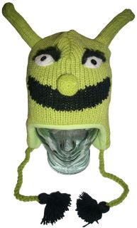Green Ski Wool Knit Winter Ear Flap Hat Puss in Boots Animal Beanie