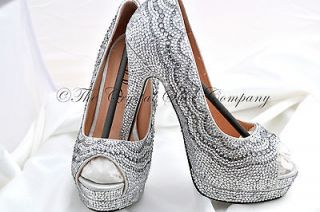 crystal wedding bridal peeptoe heel red sole shoes 3,4,5,6,7,8