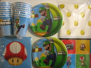 SUPER MARIO BROS. Birthday Party Supplies Set Pack w/ Table Cover