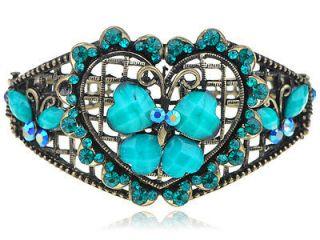 Blue Zircon Crystal Rhinestone Heart Jeweled Butterfly Bracelet