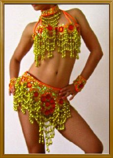 GOLD ORANGE SAMBA CARNIVAL BELLY DANCE COSTUME BRA BELT