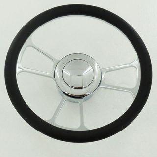 New 14 Chrome Split Tri Spoke Steering Wheel Wrap Leather +adapter
