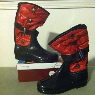 EDDIE MARC KIDS Black/Red Fashion Rain/Winter Boots Girls SZ 1 See