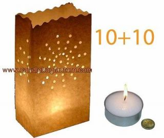 10+10 Sun Ray Nova White Paper Bag Lanterns +Giant Tea Light Candles