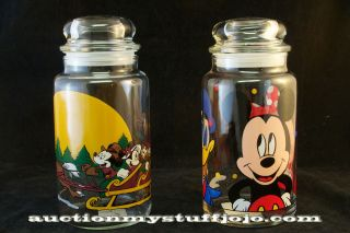 Walt Disney Co.Vintage Mickey Mouse Anchor Hocking Glass Goodies Jar
