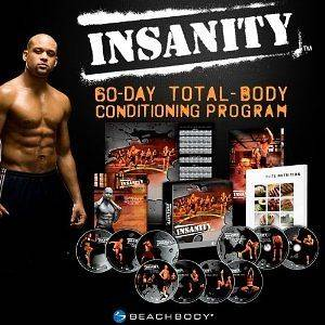 listed INSANITY WORKOUT 13 DVD SET WITH NUTRITION GUIDE AND CALENDAR