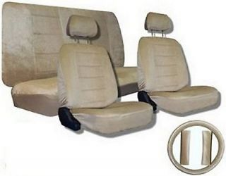 Tan Beige Quilted Velour Encore Car Truck Seat Covers & Accessories #1