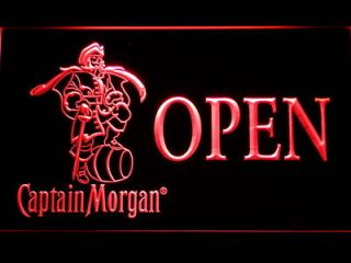 Captain Morgan OPEN Bar Beer Pub Store HAIRLINE LED Light Sign Neon
