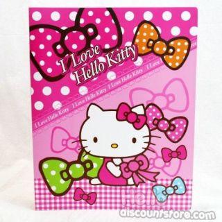 Sanrio Hello Kitty 20 Pocket Binder School Supply Pink Bow