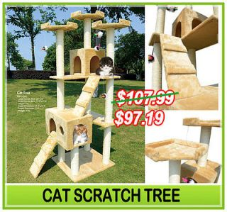 New 71 Cat Tree Condo Furniture Scratch Post Pet House Beige + Free