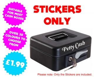 2x Personalised Custom Name Petty Cash Box Stickers Graphics Decals