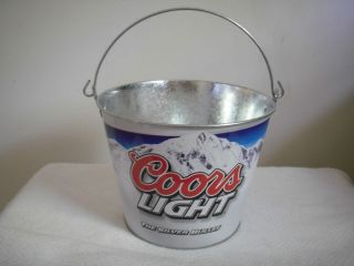 New Coors Light Metal Beer Bucket The Silver Bullet Ice Bucket 5 Qt