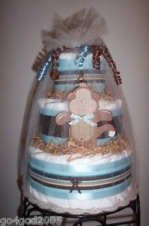 Monkey 3 Tier Diaper Cake for a Boy   Baby Shower Centerpiece Favor