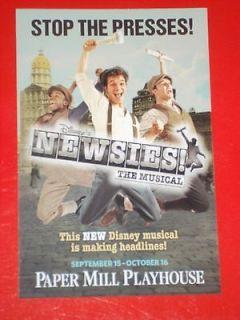 Disneys NEWSIES, RARE 2011 Pre Broadway World Premiere Musical Flyer
