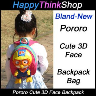 Korean Animation Pororo 3D Face Backpack Bag for Toddler Kids, Pororo