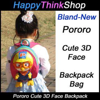 Korean Animation Pororo 3D Face Backpack Bag for Toddler Kids, Pororo