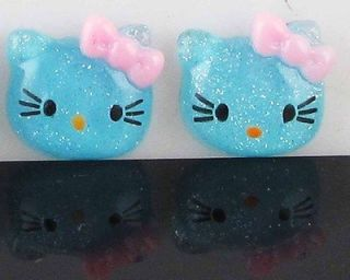 Glitter Hello Kitty Cats Craft Flat Back Scrapbook/Cabochon/Buttons