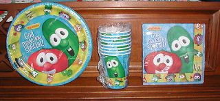 VEGGIE TALES LARRY CUCUMBER BOB TOMATO CUPS NAPKINS PLATES GOD MADE
