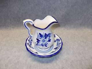 Delft Holland Windmill Blue & White Small Ceramic Pitcher & Bowl