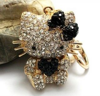 Heart Black Hello Kitty Cat Keyring Purse Charm Rhinestone Crystal