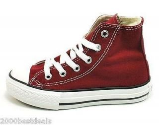 CONVERSE ALL STAR Chuck Taylor High Top Maroon YOUTHS GIRLS Sizes