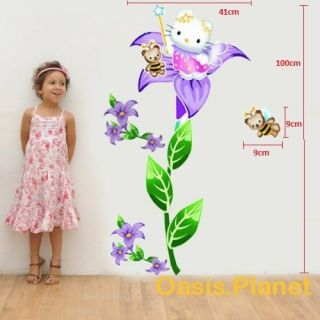 Hello Kitty Flower Wall Stickers Mural art Decal Self Adhesive