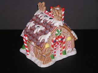 GINGERBREAD TEALIGHT HOUSE Porcelain Christmas Candle Holder Box MINT