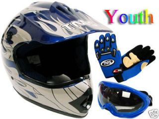 YOUTH/KIDS BLUE FLAME DIRT BIKE ATV MOTOCROSS HELMET +MX GOGGLES