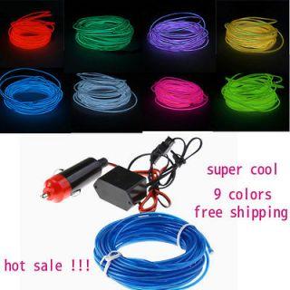 Flexible Neon Light led EL Wire Car light with 12V Inverter 2M/3M/5M