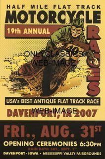 FLAT DIRT TRACK RACING POSTER  OLD HARLEY DAVIDSON INDIAN POWER SLIDE
