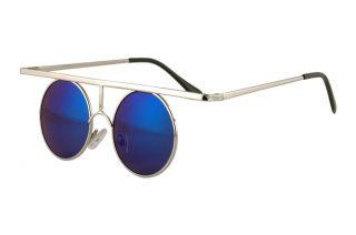 Steampunk Top Bar Round Blue Mirror Lens Silver Sun Glasses 261SD