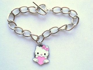 Hello Kitty Jewelry Pink Heart Charm Bracelet Pep Squad Cheerleader