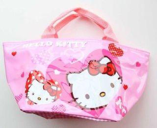 Hello Kitty lunch bag Vinyl Lining Pink small storage organizer/US