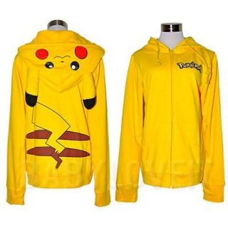 Pokemon Pikachu Ears Face Tail Zip Hoody Sweatshirt Hoodie Costume P04