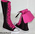 Ladies Canvas Sneakers Flat Tall Punk Casual Lace Up Knee High Boots