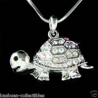 Swarovski Crystal Sea ~TURTLE~ Terrapins Tortoise Charm Pendant